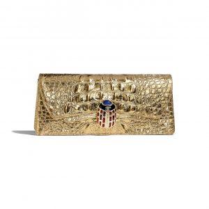 Chanel Gold Metallic Crocodile Embossed Clutch Bag