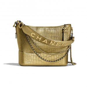 Chanel Gold Metallic Crocodile Embossed Gabrielle Hobo Bag