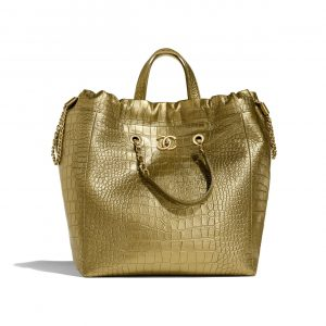 Chanel Gold Metallic Crocodile Embossed Large Shopping Bag
