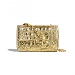 Chanel Gold Metallic Crocodile Embossed Mini Flap Bag