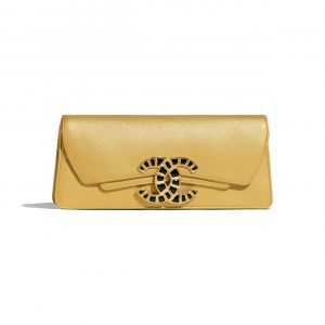 Chanel Gold Metallic Lambskin Clutch Bag