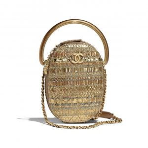 Chanel Gold Tweed Camera Case Bag