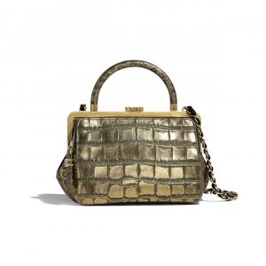 Chanel Gold:Black Crocodile Embossed Kiss-Lock Top Handle Bag