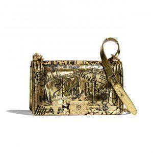 Chanel Gold:Black Graffiti Crocodile Embossed Boy Chanel Old Medium Bag