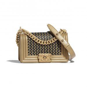 Chanel Gold:Black Metallic Lambskin Boy Chanel Small Bag