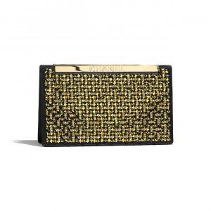 Chanel Gold:Black Satin:Crystal Pearls Clutch Bag