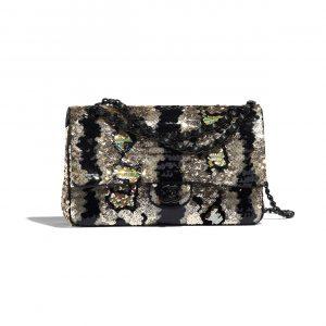 Chanel Gold:Black Sequins Medium Classic Flap Bag