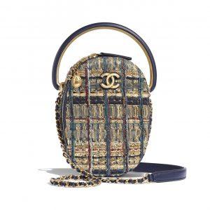 Chanel Gold:Black:Blue:Green Tweed Camera Case Bag