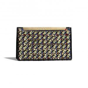 Chanel Gold:Blue:Black Lambskin:Imitation Pearls Clutch Bag
