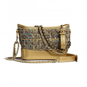 Chanel Gold:Blue:Green Tweed Gabrielle Small Hobo Bag