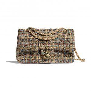 Chanel Gold:Blue:Green Tweed Medium Classic Flap Bag