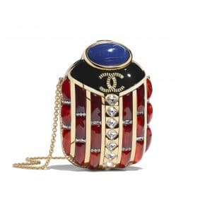 Chanel Gold:Blue:Red Resin:Strass Scarab Evening Bag