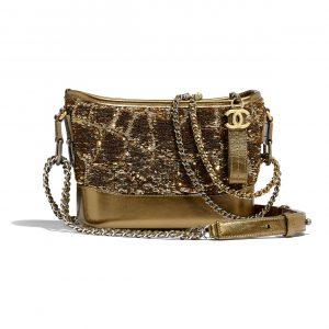 Chanel Gold:Copper Sequins:Calfskin Gabrielle Small Hobo Bag