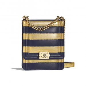 Chanel Gold:Navy Blue Boy Chanel North:South Bag