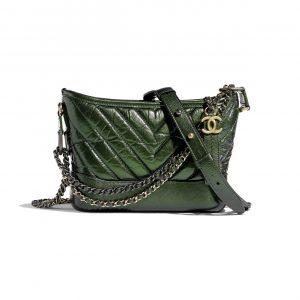 Chanel Green Aged Calfskin Gabrielle Small Hobo Bag