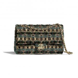 Chanel Green:Gold:Beige:Black Tweed Medium Classic Bag
