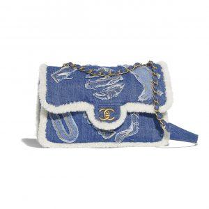 Chanel Light Blue Cotton:Shearling Sheepskin Flap Bag