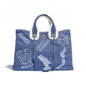Chanel Light Blue Cotton:Shearling Sheepskin Shopping Bag
