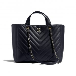 Chanel Navy Blue Chevron Statement Large Shopping Bag