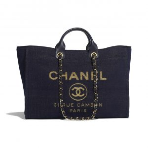 Chanel Navy Blue:Gold Deauville Large Shopping Bag