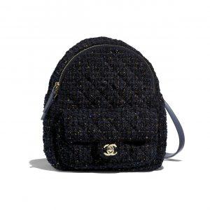 Chanel Navy Blue:Green:Pink Tweed Backpack Bag