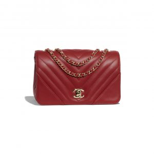 Chanel Red Chevron Statement Small Flap Bag