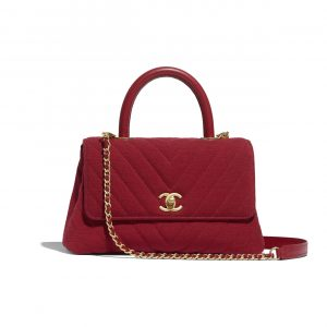 Chanel Red Jersey Mini Coco Handle Bag
