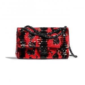 Chanel Red:Black Sequins Medium Classic Flap Bag