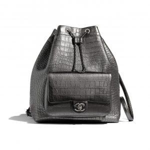 Chanel Silver Crocodile Embossed Calfskin Large Backpack Bag