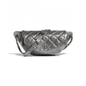 Chanel Silver Crocodile Embossed Easy Trip Waist Bag