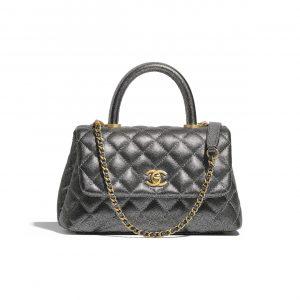 Chanel Silver Metallic Grained Calfskin Mini Coco Handle Bag