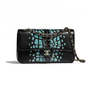 Chanel Turquoise:Black Lambskin:Resin Medium Classic Flap Bag