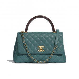 Chanel Turquoise:Burgundy Calfskin:Lizard Small Coco Handle Bag