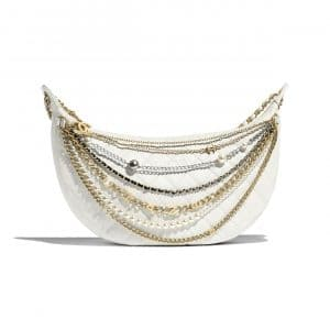 Chanel White All About Chains Hobo Bag