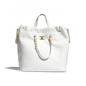Chanel White Metallic Crocodile Embossed Large Shopping Bag