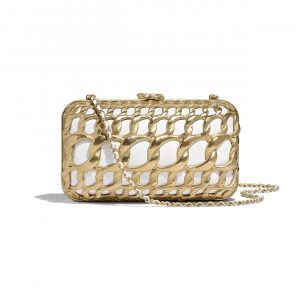 Chanel White:Gold Lambskin:Metal Evening Bag