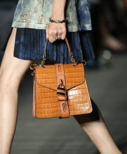 Chloe Tan Crocodile Embossed Top Handle Bag - Resort 2020