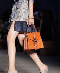 Chloe Yellow Crocodile Embossed Top Handle Bag 2 - Resort 2020