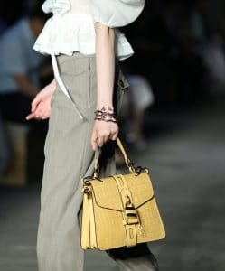 Chloe Yellow Crocodile Embossed Top Handle Bag - Resort 2020
