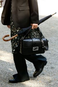 Fendi Black Crocodile Baguette Bag - Spring 2020