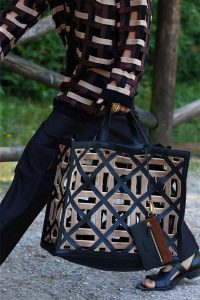 Fendi Black/Brown Perforated Tote Bag - Spring 2020