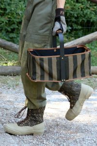 Fendi Brown/Black Striped Top Handle Bag - Spring 2020
