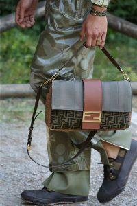 Fendi Gray/Brown FF Baguette Bag - Spring 2020