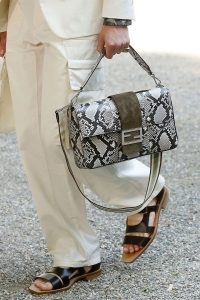 Fendi Light Gray Python Baguette Bag - Spring 2020