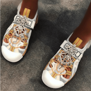 Gucci Leather Sandals and Mesh with Crystals 2