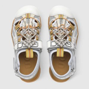 Gucci Leather Sandals and Mesh with Crystals