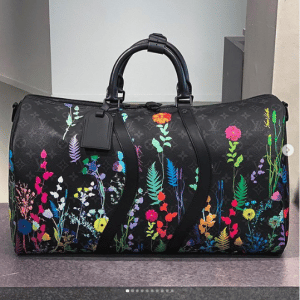 Louis Vuitton Black Monogram with Floral Print Keepall Bag