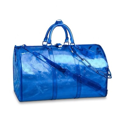 Borsa Louis Vuitton Blue PVC Keepall Bandouliere 50