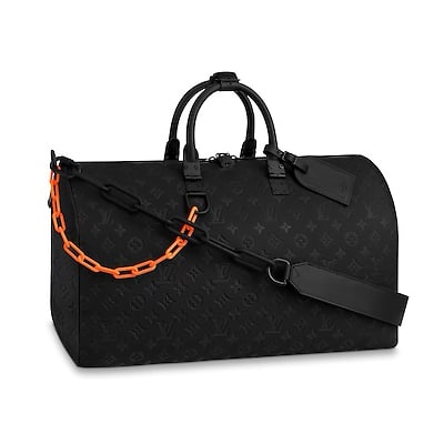 Louis Vuitton Monogram Absolute Black Keepall Bandouliere 50 Borsa