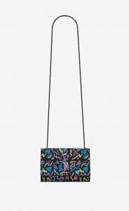 Saint Laurent Black Graphic Print Small Kate Bag